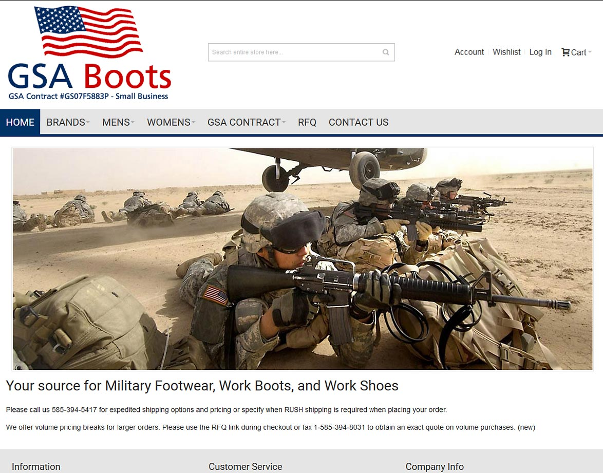 GSA Boots - Featured Responsive, Mobile-Friendly Website